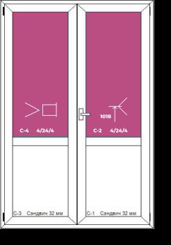 Двухстворчатая дверь (штульповое открывание) с глухой частью внизу