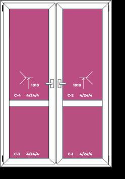 Двухстворчатая дверь с перемычкой по высоте и двумя открываниями