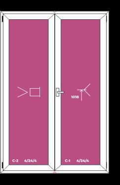 Двухстворчатая дверь (штульповое открывание)